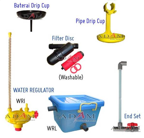 drip cup ayam - mangkok ayam - lepek ayam - regulator nipple - regulator nepel - saringan air - filter air - filter disc - nv adam poultry malang